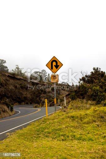 u turn sign at hawaiiA's haleakala national park.