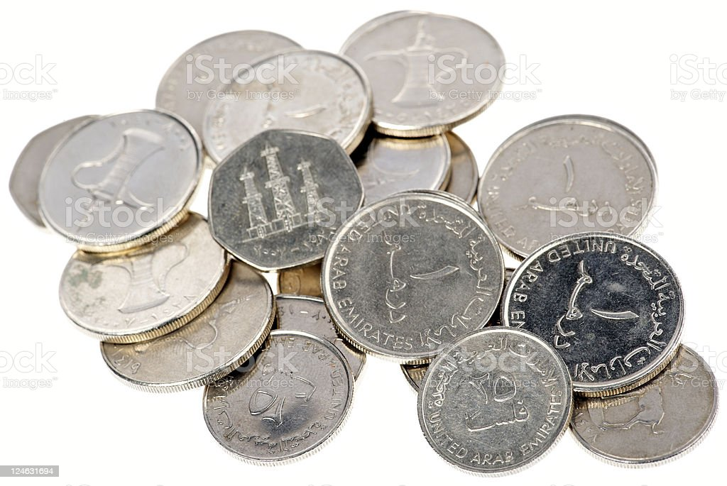 uae coins royalty-free stock photo