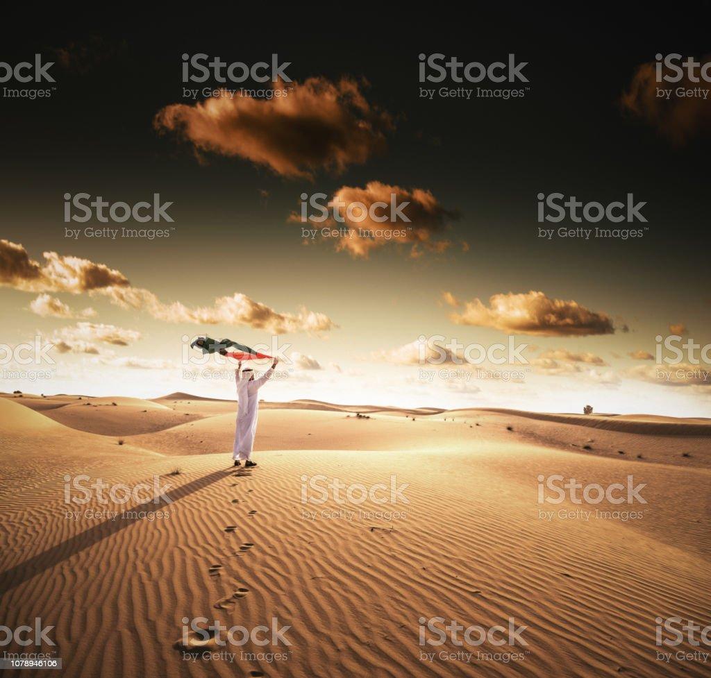 烏埃國慶日在沙漠中 - 免版稅一個人圖庫照片