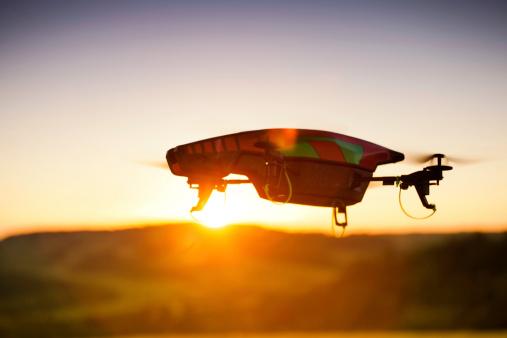 Uav drone at sunset