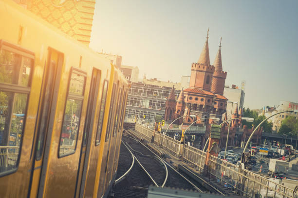 U-Bahn train on Oberbaum Bridge in Berlin stock photo