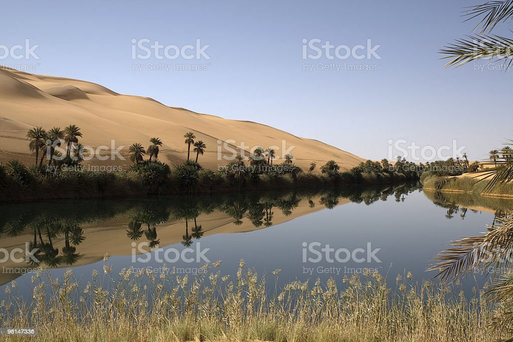 Ubari lake in the Sahara royalty-free stock photo