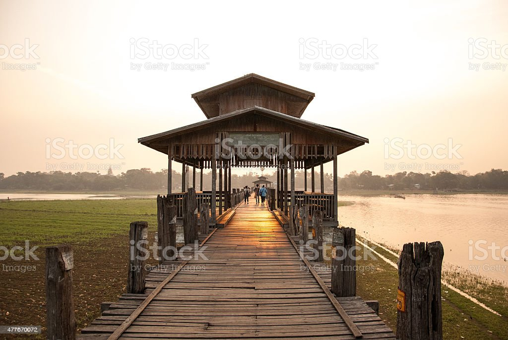 Ubein Bridge at Mandalay, Myanmar stock photo