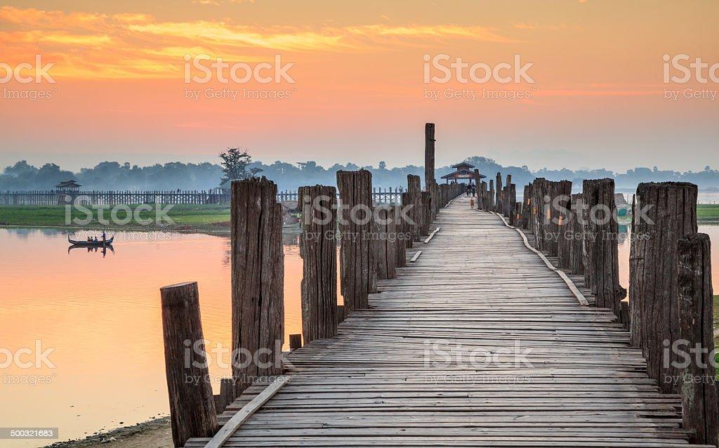 Ubein Bridge at sunrise, Mandalay, Myanmar stock photo