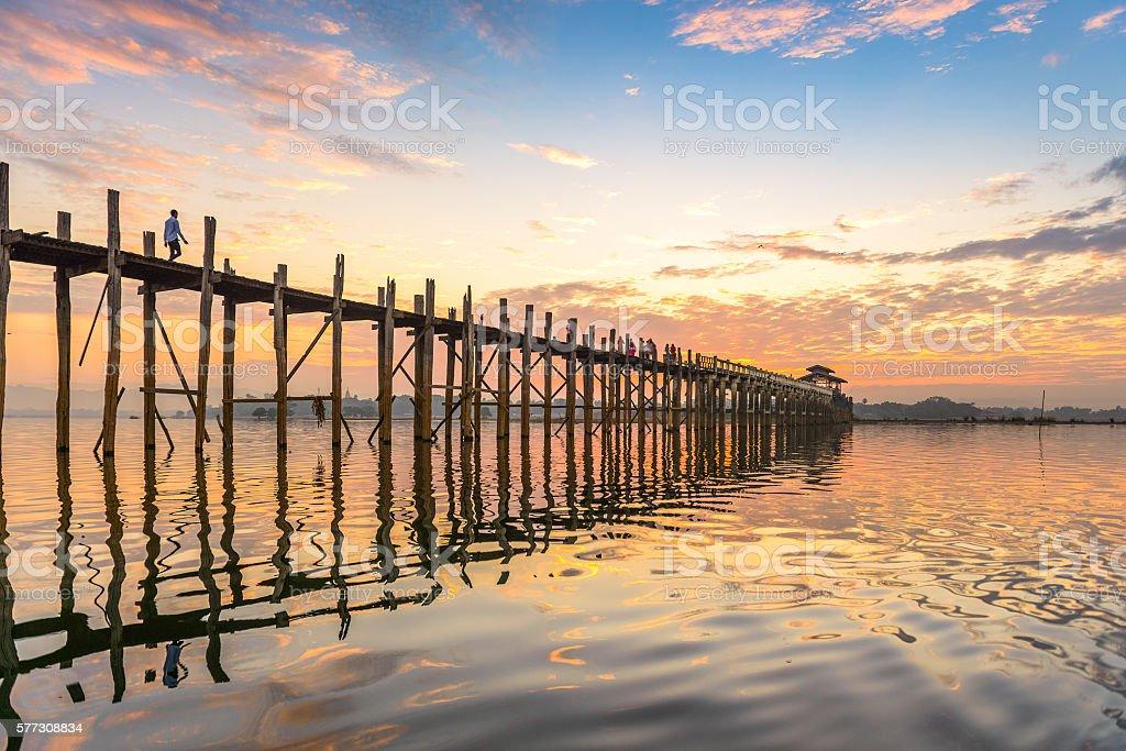 U-Bein Bridge of Myanmar stock photo