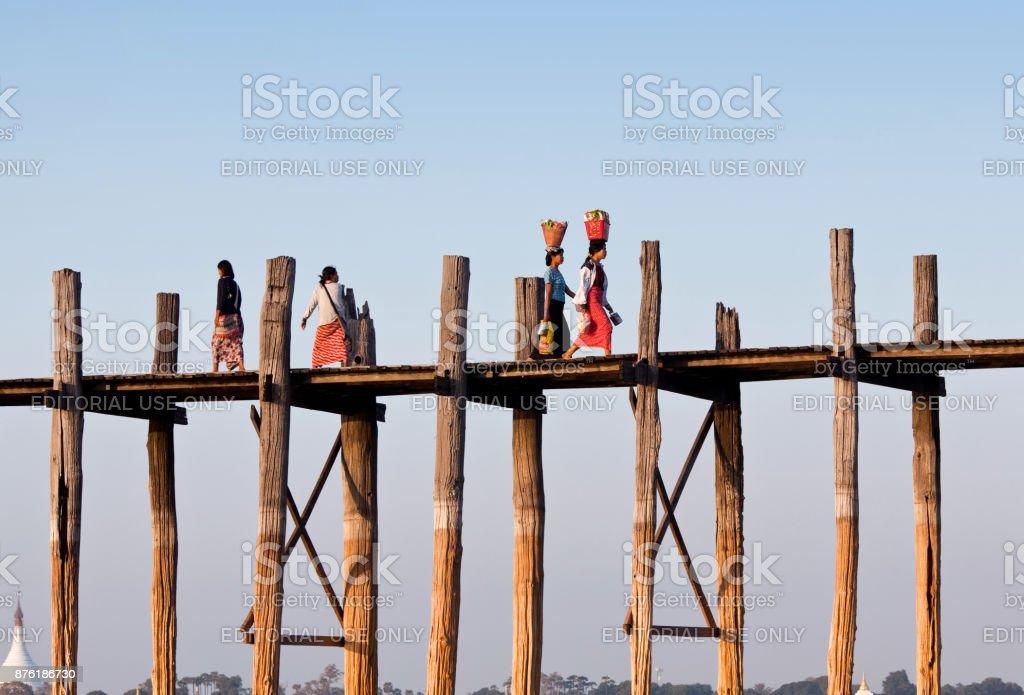U-Bein teak bridge on Taungthaman lake in Mandalay division, Myanmar stock photo