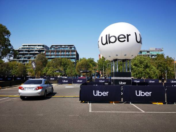 Uber Car Park - Pick-up Spot stock photo