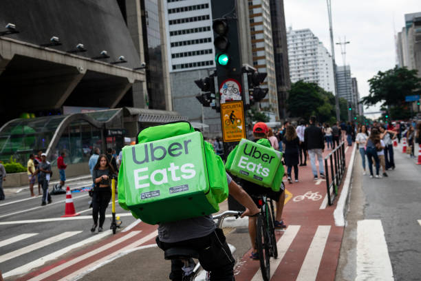 Uber Eats bicycle delivery in São Paulo, Brazil stock photo