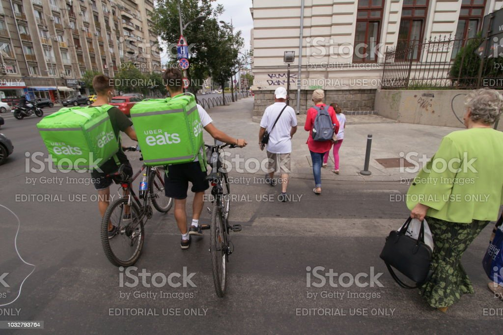 Uber Eats courier - Bucharest stock photo