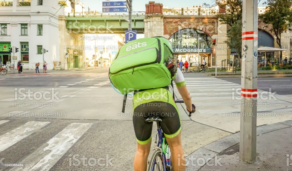 Uber eats delivery service stock photo