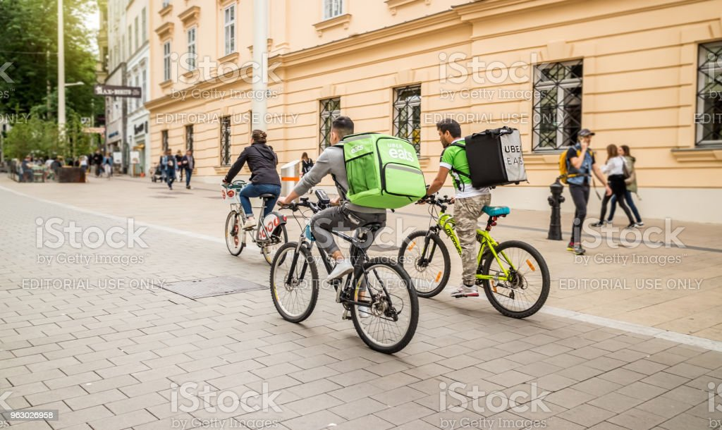Uber eats food delivery stock photo
