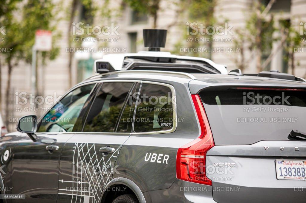 Uber Self Driving Car in San Francisco stock photo