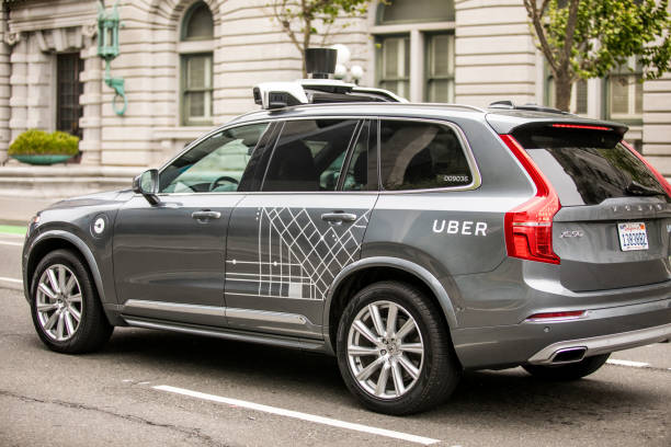 uber self driving car in san francisco - self driving car stock photos and pictures