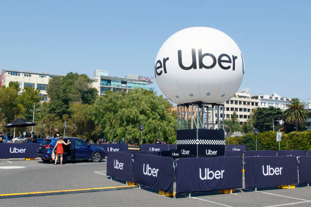 Uber Taxi Pick-up Spot - Melbourne stock photo