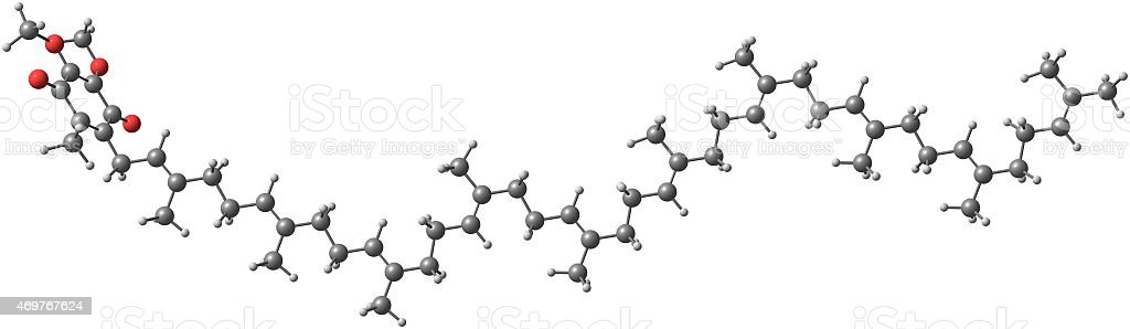 Ubiquinone molecule isolated on white stock photo
