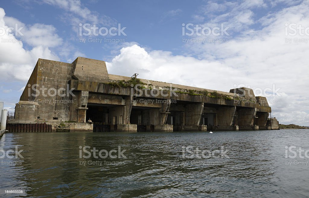 U-Boat pens, Lorient, Brittany, France stock photo