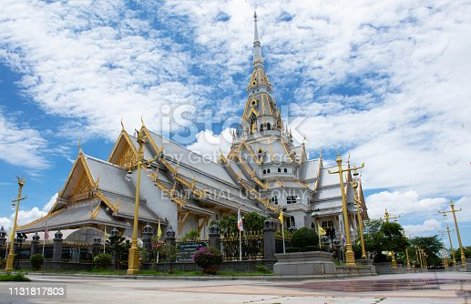Ubosot of Wat Sothon Wararam Worawihan for thai people respect praying and blessing from Luang Phor Sothorn Buddha statue on July 4, 2018 in Chachoengsao, Thailand.