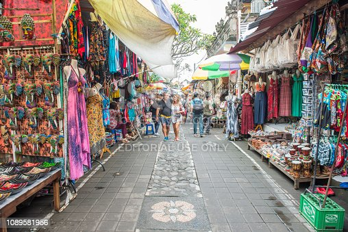Bali, Indonesia : 14 July 2018 : View of traditional souvenir in Ubud market an iconic tourist shopping place in Bali, Indonesia.