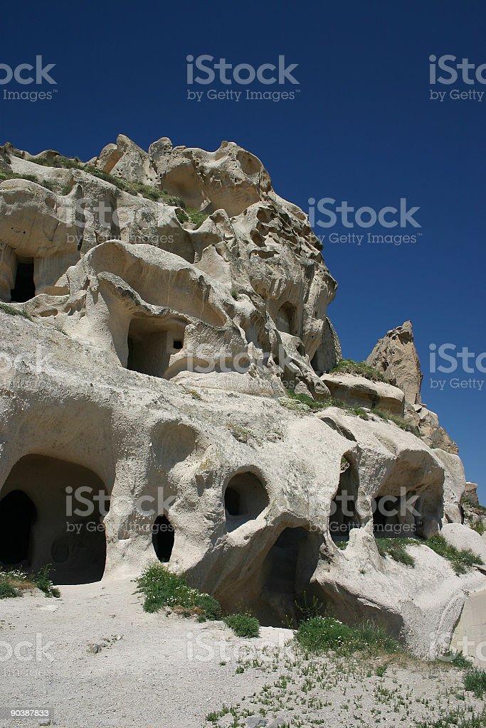 Uchisar castle Cappadoccia stock photo