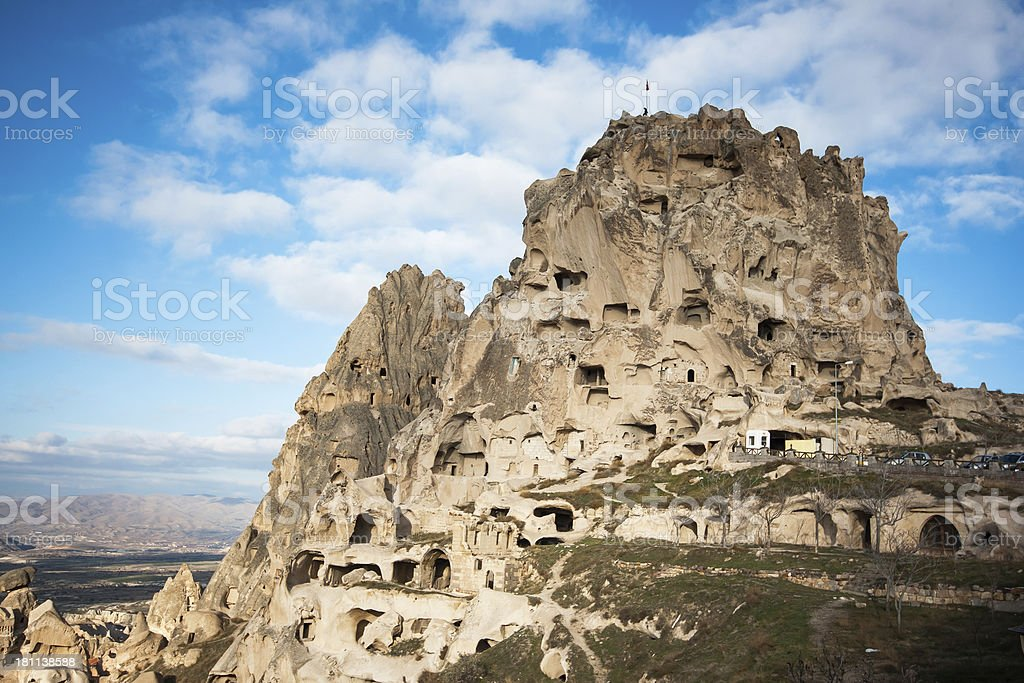 Uchisar Castle in Capadocia royalty-free stock photo