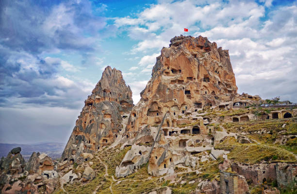 Uchisar castle  in Cappadocia, Central Anatolia,Turkey stock photo