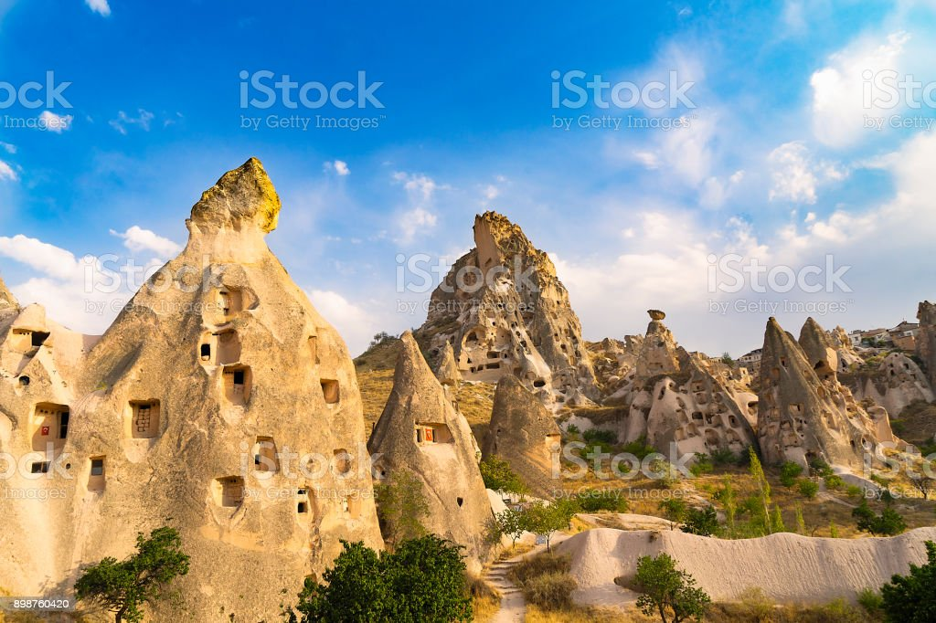 Uchisar in Cappadocia, Turkey stock photo