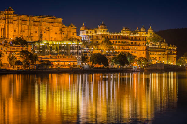 Udaipur City Palace in Rajasthan is one of the major tourist attractions in India stock photo