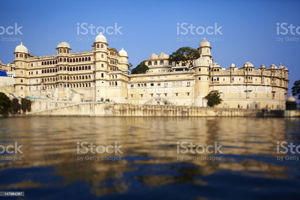 Udaipur city palace on the lake Pichola stock photo