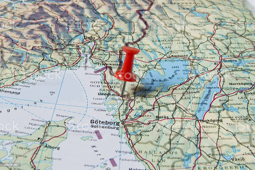 Uddevalla Marked With Red Pushpin On Sweden Map Stock Photo - Sweden map uddevalla