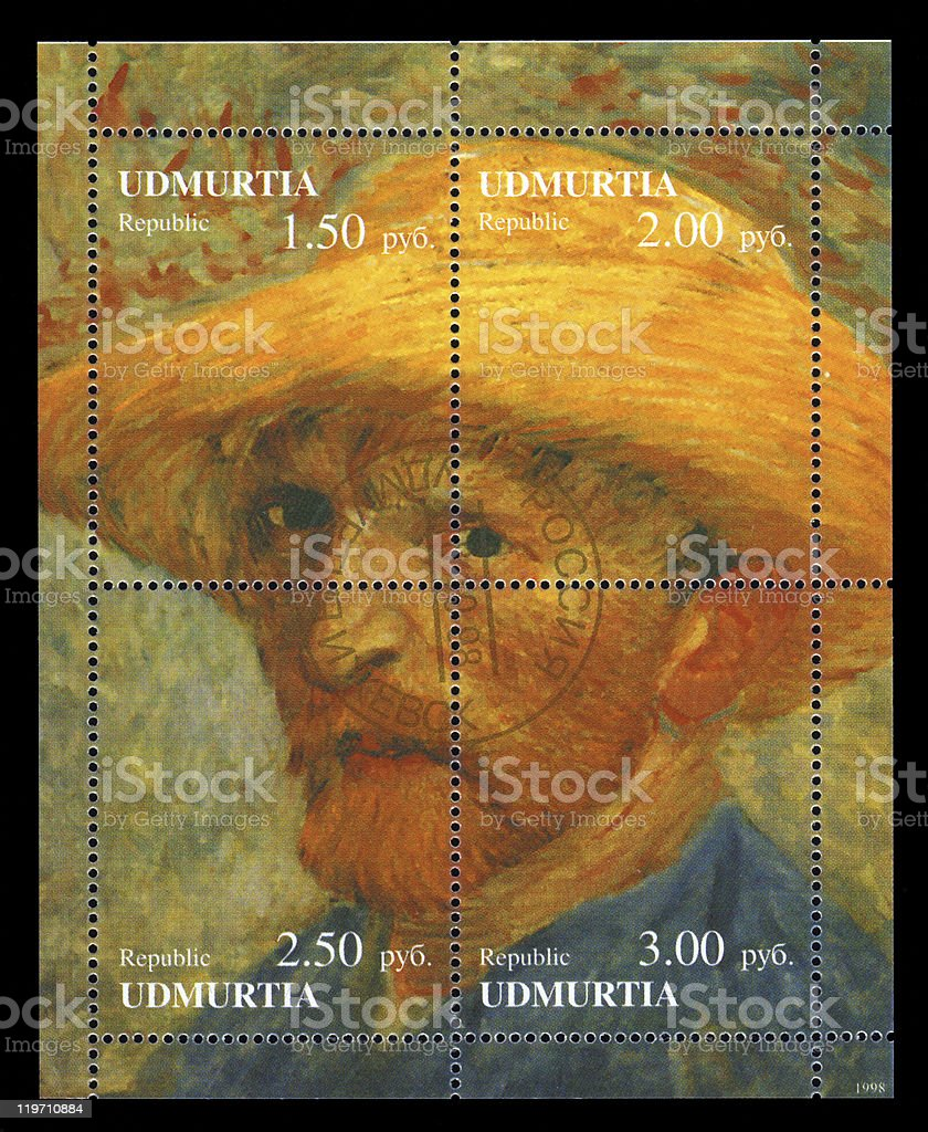 Udmurt Republic postage Stamp Vincent Van Gogh royalty-free stock photo