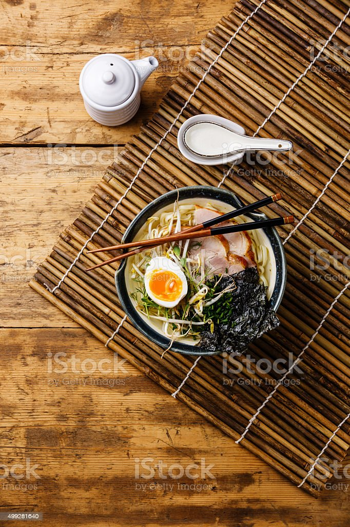 Udon noodle with boiled pork stock photo