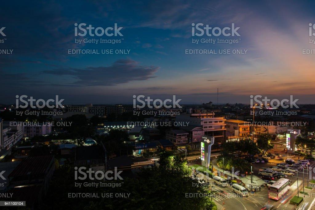 Udon thani Thailand, night cityscape November 2016 stock photo