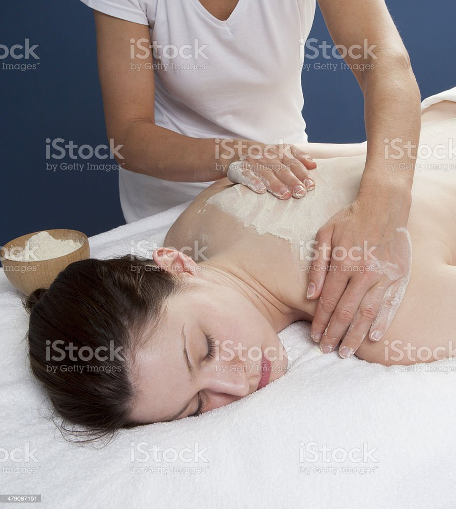 udvartana massage with chick-pea flour royalty-free stock photo