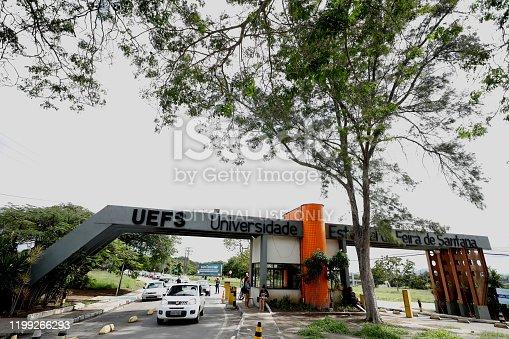 feira de santana, bahia / brazil - july 10, 2019: View of the entrance gate of the State University of Feira de Santana.
