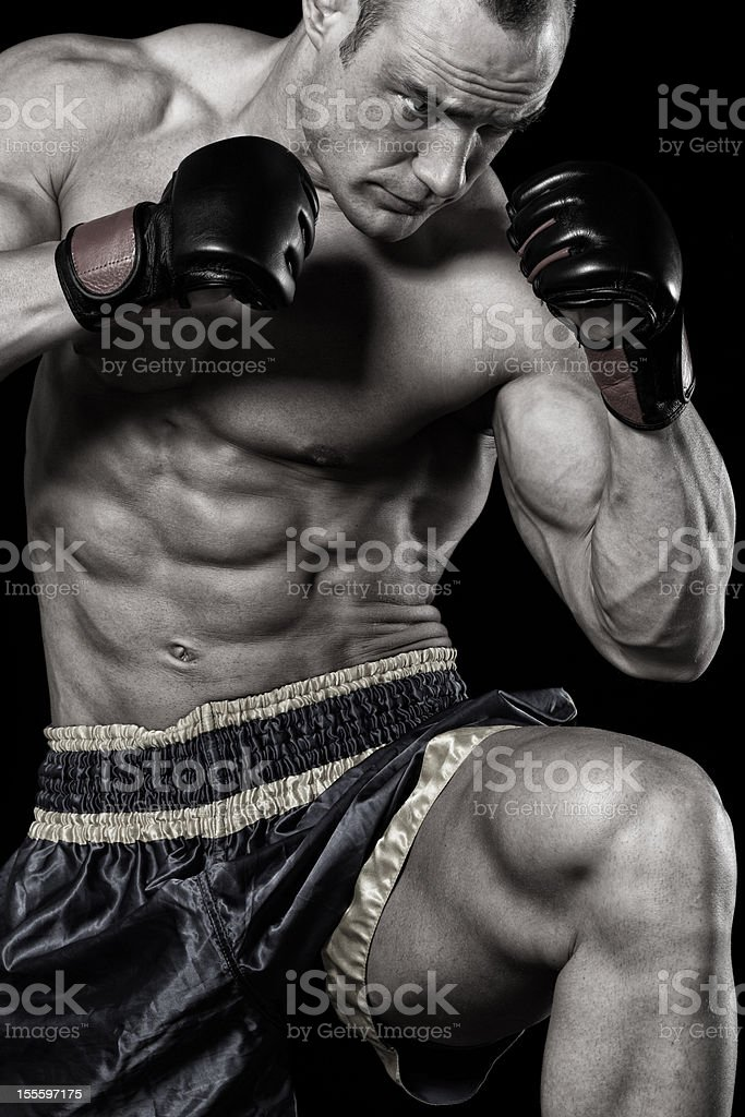 Ufc fighter in action royalty-free stock photo