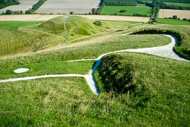 Uffington White Horse and Dragon Hill stock photo