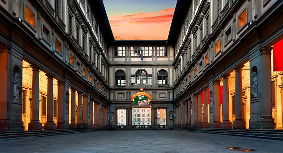 Piazzale degli Uffizi in Florence at sunrise, Italy