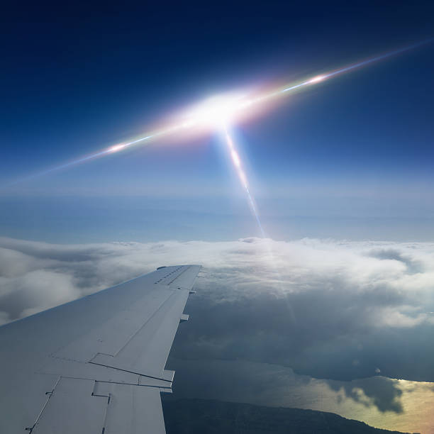 Ufo flies near airplane - foto de stock