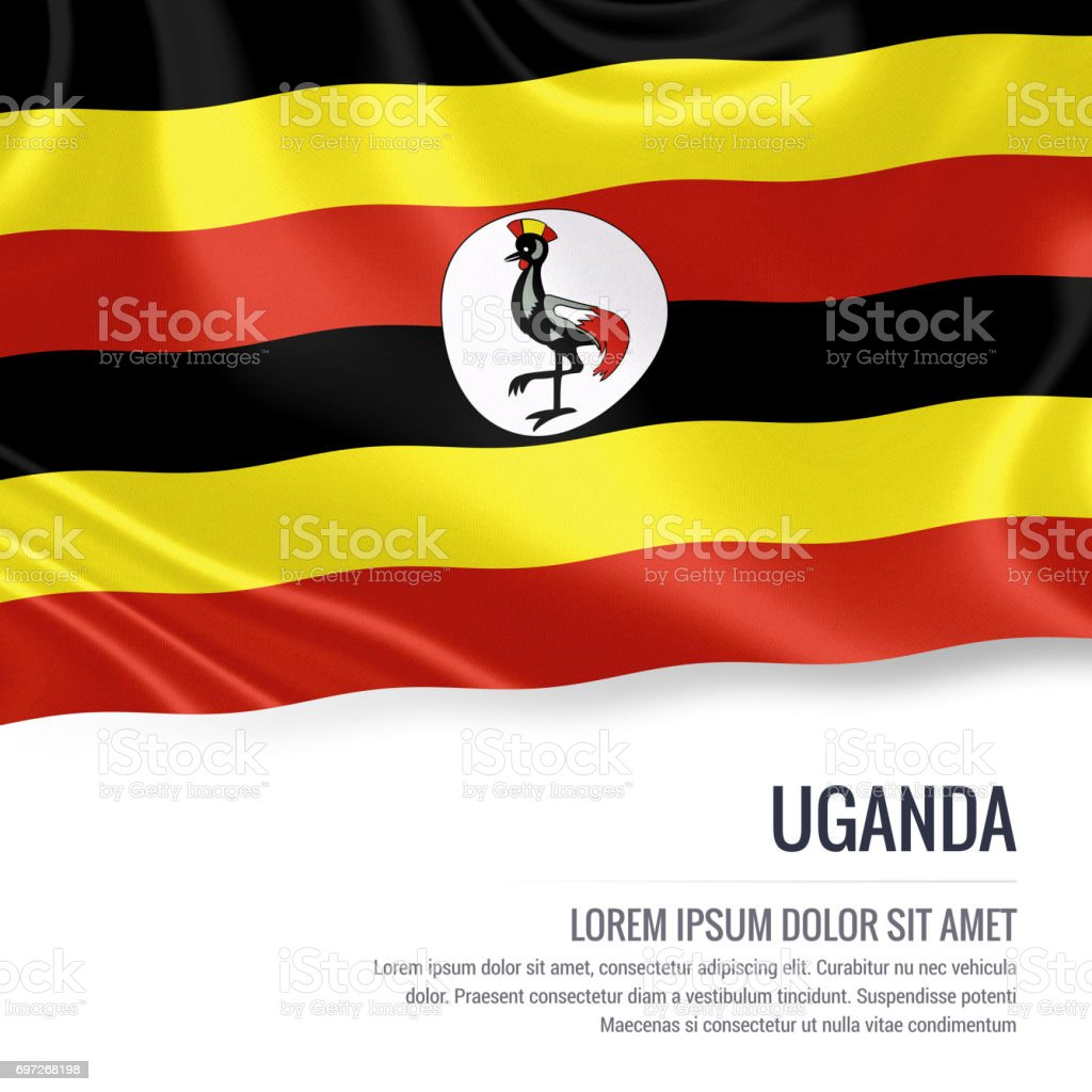 Uganda flag. Silky flag of Uganda waving on an isolated white background with the white text area for your advert message. 3D rendering. stock photo