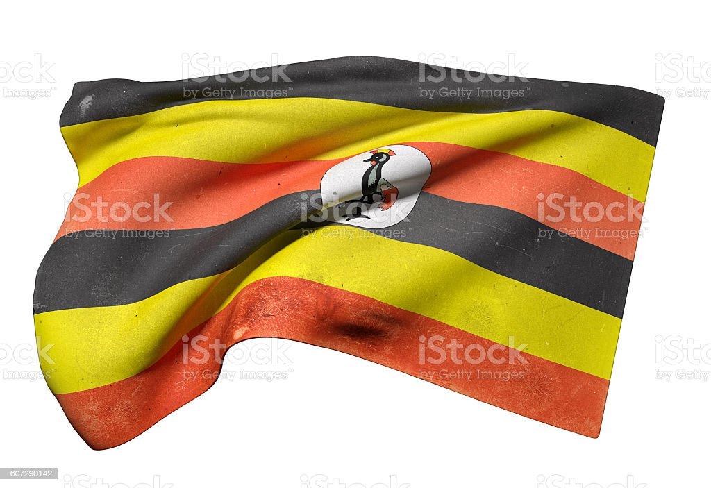 Uganda flag waving stock photo
