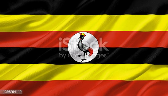 1056280906 istock photo Uganda flag waving with the wind, 3D illustration. 1056264112