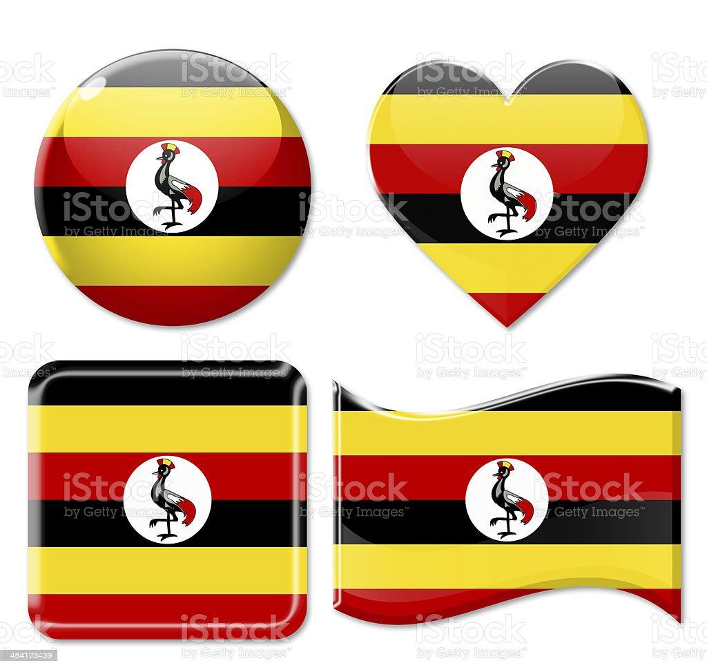 Uganda Flags & Icon Set stock photo