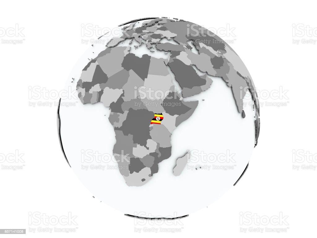 Uganda on globe isolated stock photo