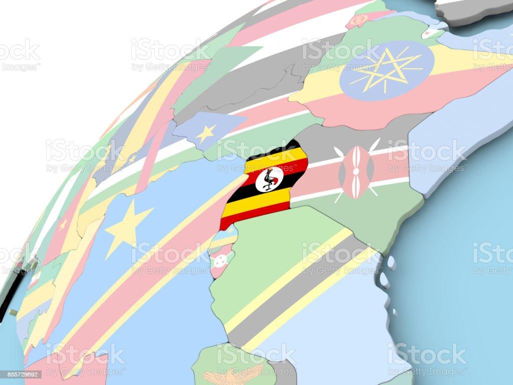 Uganda on globe with flag stock photo