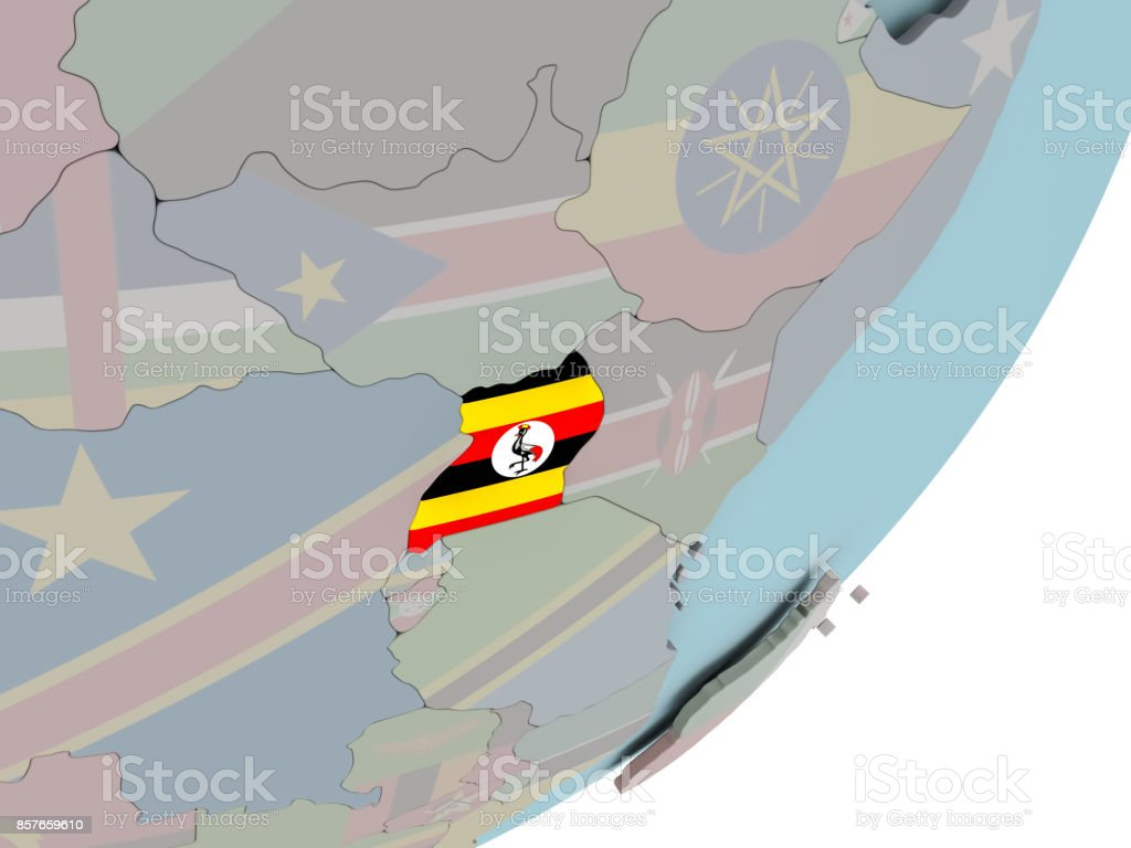 Uganda on globe with flags stock photo