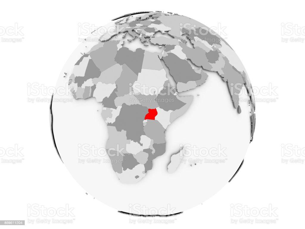 Uganda on grey globe isolated stock photo