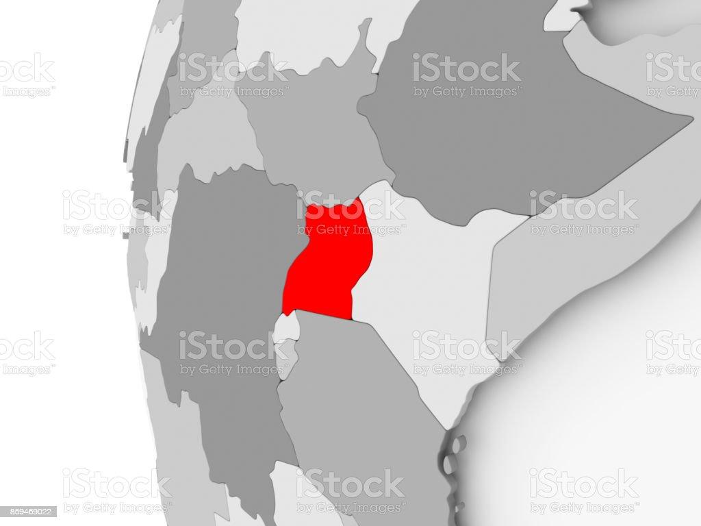 Uganda on grey globe stock photo
