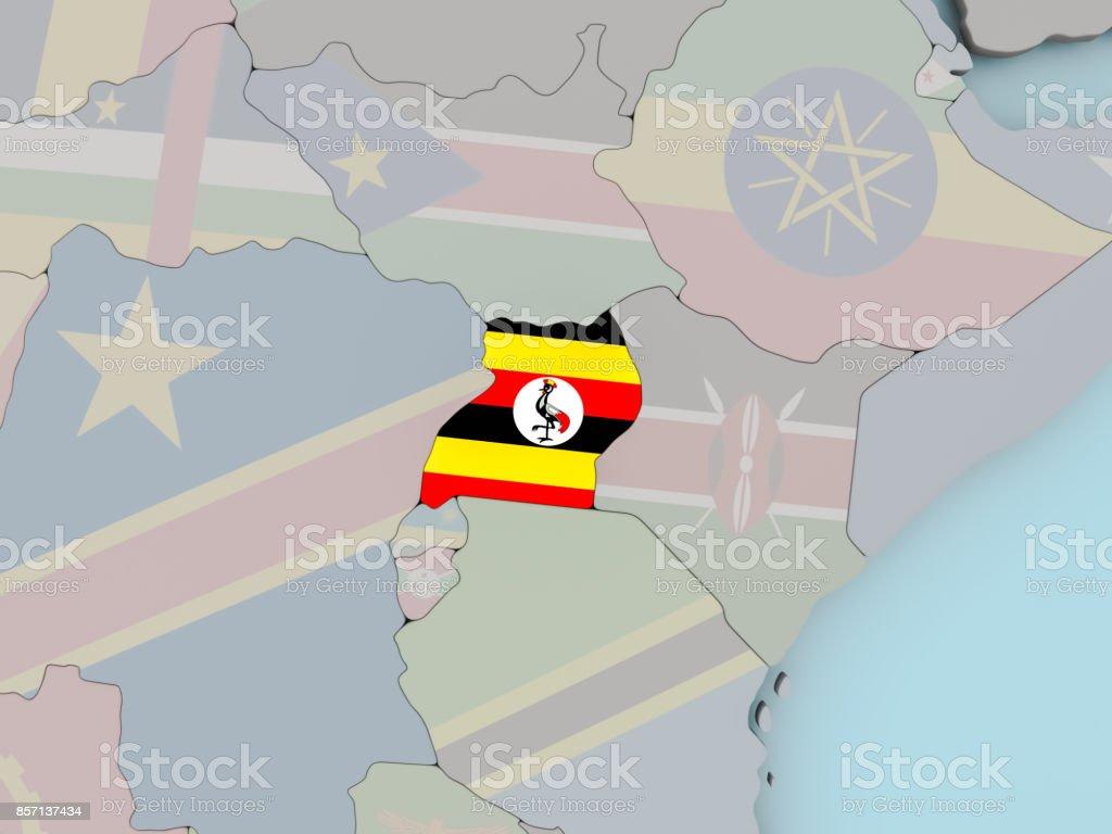 Uganda on political globe with flag stock photo