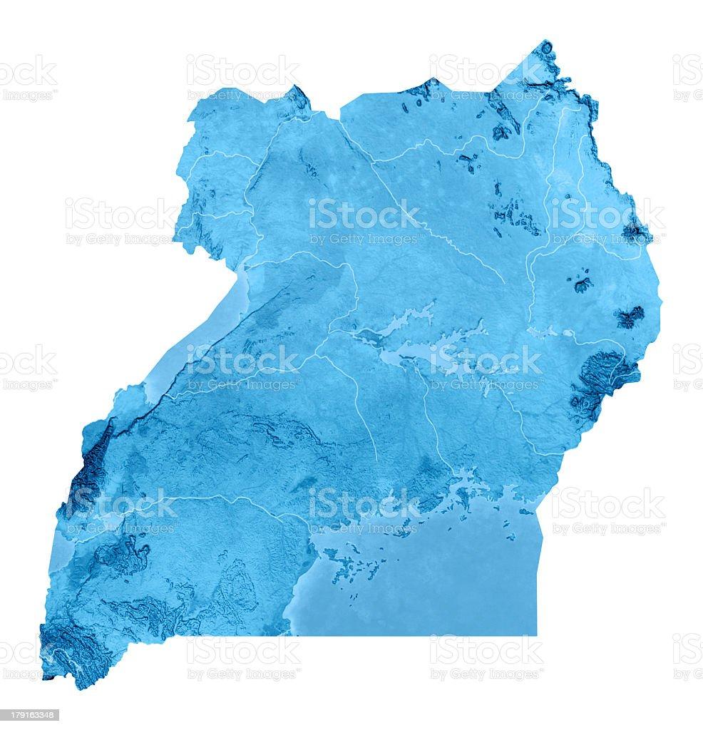 Uganda Topographic Map Isolated stock photo iStock