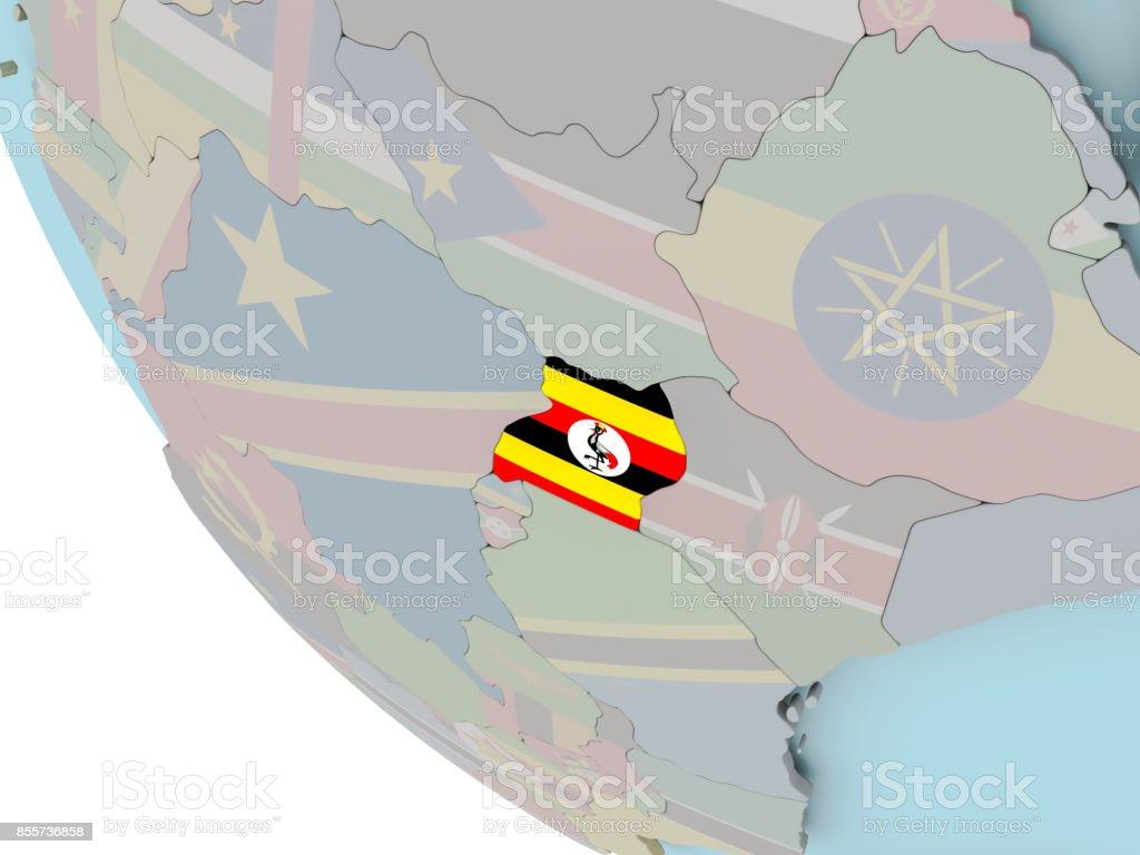 Uganda with flag illustration stock photo